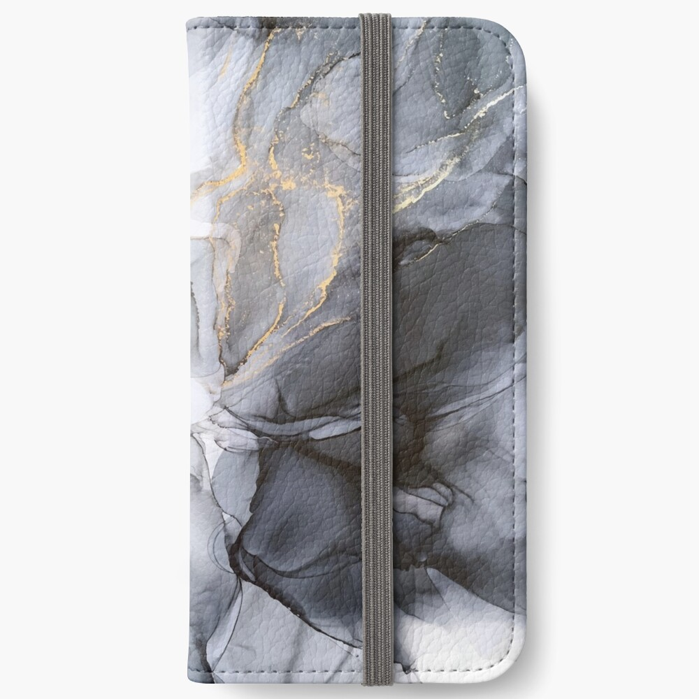 Calm but Dramatic Light Monochromatic Black & Grey Abstract iPhone Wallet