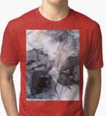 Calm but Dramatic Light Monochromatic Black & Grey Abstract Tri-blend T-Shirt