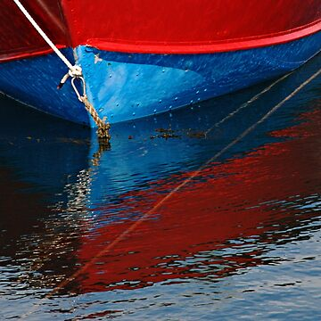 Red and Blue Boat Reflections by gerdagrice