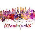 Minneapolis-Skyline in Aquarell spritzt von paulrommer