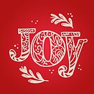 Joy Christmas Decoration - Festive Typography Design in Red and Beige Colors by Thubakabra