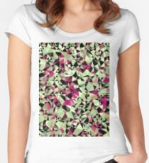 geometric triangle pattern abstract in green pink black Women's Fitted Scoop T-Shirt