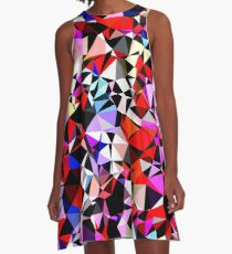 geometric triangle pattern abstract in red pink black blue A-Line Dress
