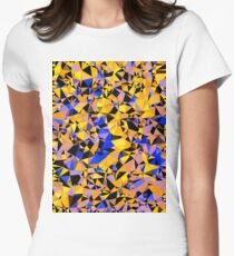 geometric triangle pattern abstract in orange blue yellow Women's Fitted T-Shirt