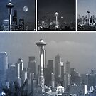 Grey Seattle Space Needle Collage by stine1