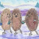 Fabulous Ice-Skating Hedgehogs by SusanAlisonArt
