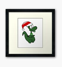 Funny Christmas Dino Dinosaur Framed Print