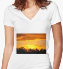 A Flock of Geese in A Golden Sky Women's Fitted V-Neck T-Shirt
