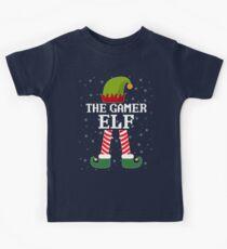 Gamer Elf Funny Christmas Elves Kids Tee