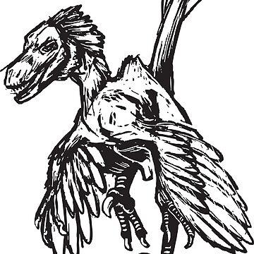 Dinobird - Feathered Velociraptor Dinosaur by jfells