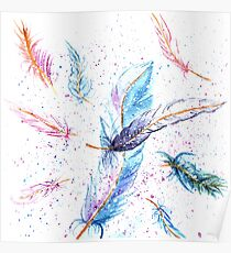 Watercolor Feather Art Pattern Poster