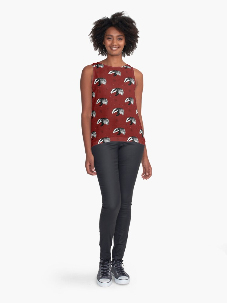 Alternate view of Badger print in red Contrast Tank