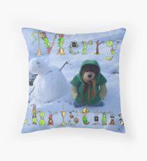 Teddy bear snowman Throw Pillow