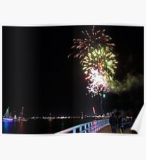 Fireworks over the Bay-Geelong Vic Australia Poster
