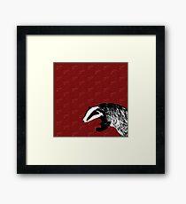 Badger on botanical red pattern Framed Print