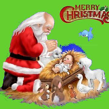 MERRY CHRISTMAS - SANTA HONORING BABY JESUS by Tim-Forder