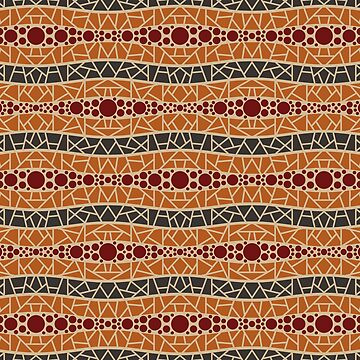 Mosaic Wavy Stripes in Brown, Terracotta and Burgundy by MelFischer