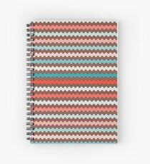 Christmas ric rac pattern. Waves in pink and aqua. Spiral Notebook