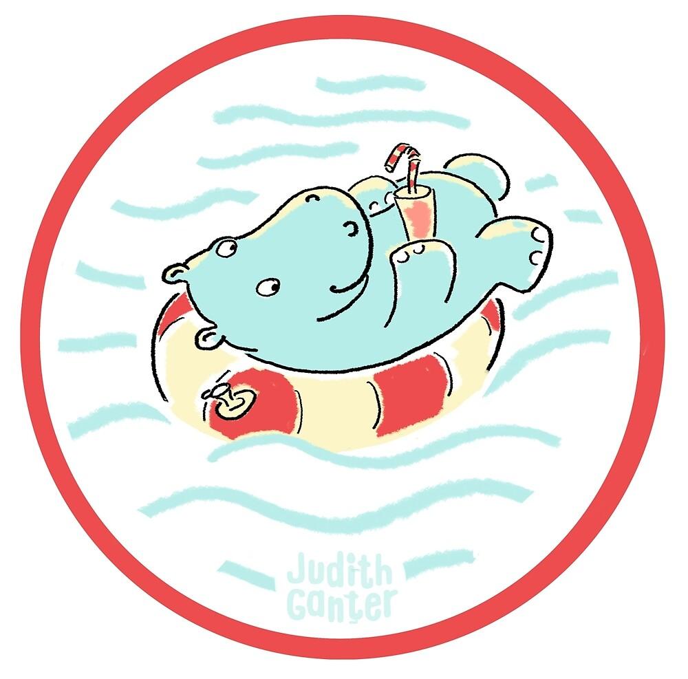 Nilpferd im Schwimmreif - Logo von Judith Ganter