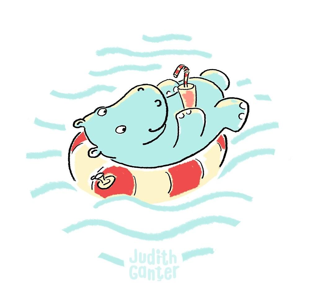Nilpferd im Schwimmreif - Muster von Judith Ganter
