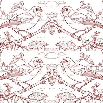 Chaffinch Toile de Jouy Inspired Red by lewisroland
