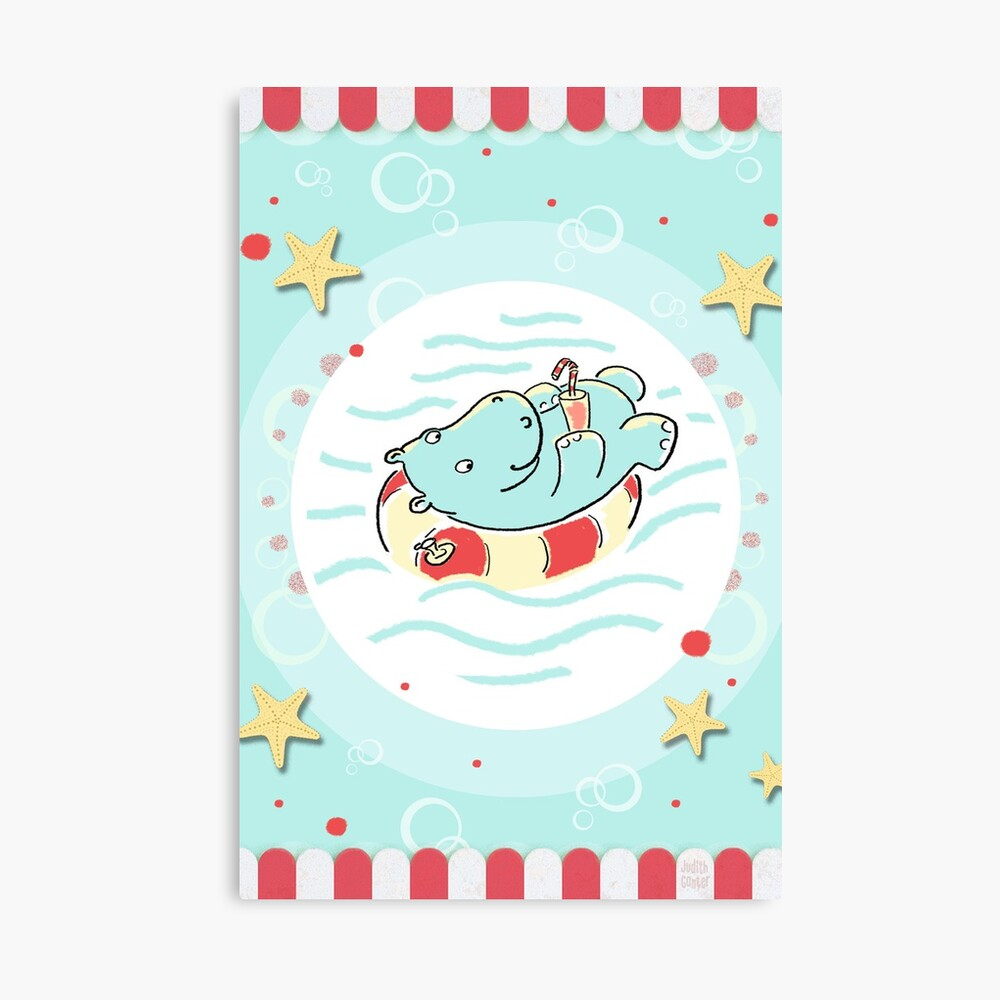 Nilpferd im Schwimmreif - Markise Leinwanddruck