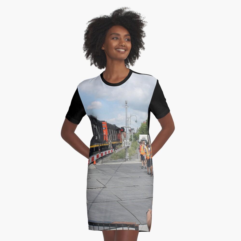 #Train, #railway, #railroad, #locomotive, #station, #transportation, #transport, #rail, #travel, #track, #engine, #diesel, #red, #platform, #old, #steam, #traffic Graphic T-Shirt Dress Front