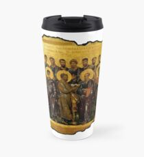 Twelve Disciples, Synaxis, Christianity, Twelve Apostles, Russian, 14th century, Moscow Museum. on White Travel Mug