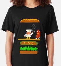 Burger Time Retro 80's Arcade Game design Slim Fit T-Shirt
