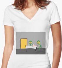 DAVID TECH - MIX #007 Tailliertes T-Shirt mit V-Ausschnitt