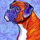 Colorful Brindle Boxer Dog by Rebecca Wang