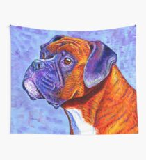 Colorful Brindle Boxer Dog Wall Tapestry