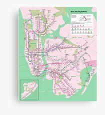 New York Subway Pop Art Map - Dark Turquoise / Funky Green - NYC - USA - HD Canvas Print