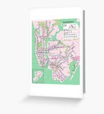 New York Subway Pop Art Map - Dark Turquoise / Funky Green - NYC - USA - HD Greeting Card