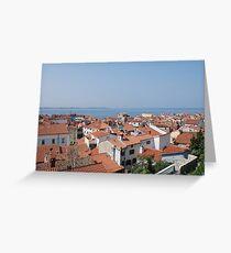Piran Rooftops  Greeting Card