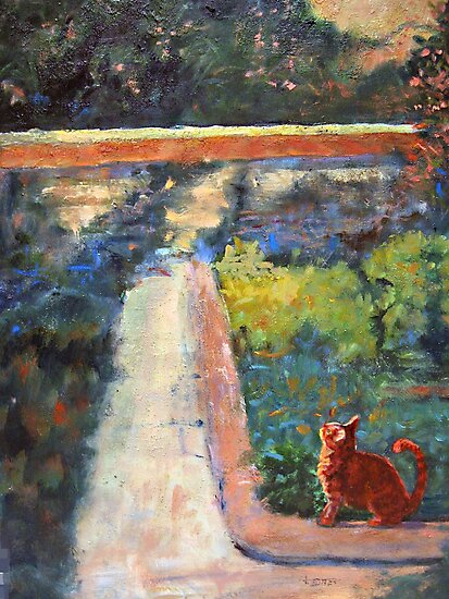 Museum Cat Enters the Picture after Georges Seurat by jimmie