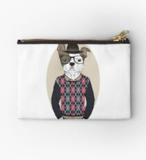 Hand Drawn Fashion Illustration of French Bulldog Hipster in colors Studio Pouch
