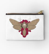 Death head hawk moth with red roses in retro vintage style. Studio Pouch