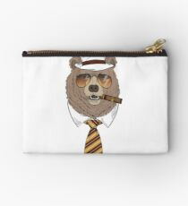 Hand drawn portrait of bear in fedora hat, tie, sunglasses and cigar Studio Pouch