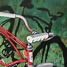 Old Red - Bicycle shadow original oil painitng by LindaAppleArt