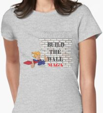 TRUMP Build the Wall MAGA  Women's Fitted T-Shirt