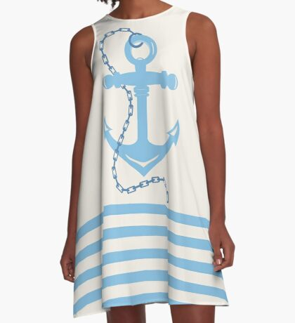AFE Baby Blue Anchor & Chain, Nautical Art A-Line Dress
