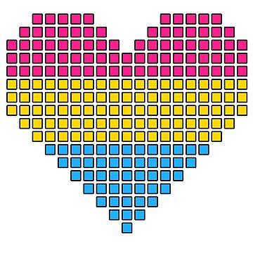 Pansexual pixel heart by kittykarnstein
