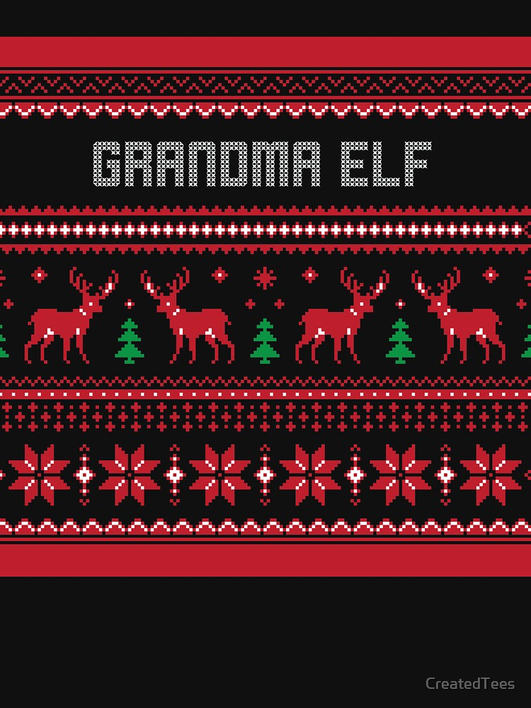 Grandma Elf Christmas Sweater by CreatedTees