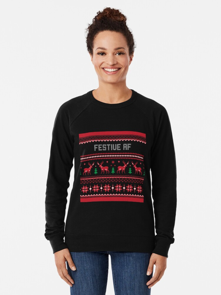 Alternate view of Festive Af Christmas Sweater Lightweight Sweatshirt