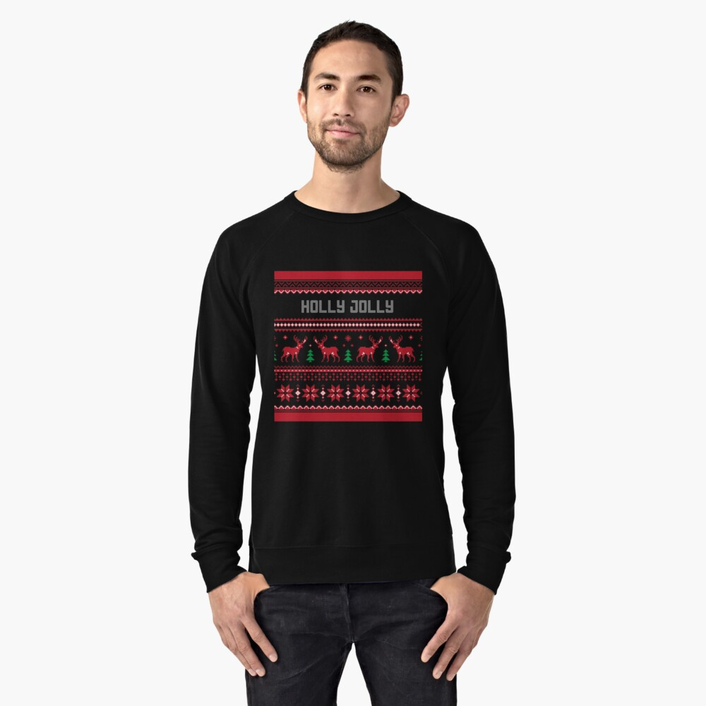 Holly Jolly Christmas Sweater Lightweight Sweatshirt Front