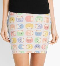 Fluffy owl seamless vector pattern with retro color palette Mini Skirt