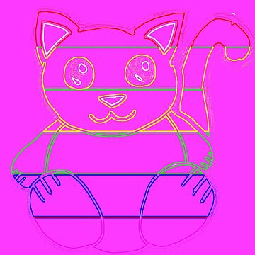 Rainbow Neon Cat Outline by KaylinArt
