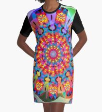 Colors and Blooms Graphic T-Shirt Dress