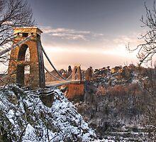 Clifton Suspension Bridge Snow by Alan Watt